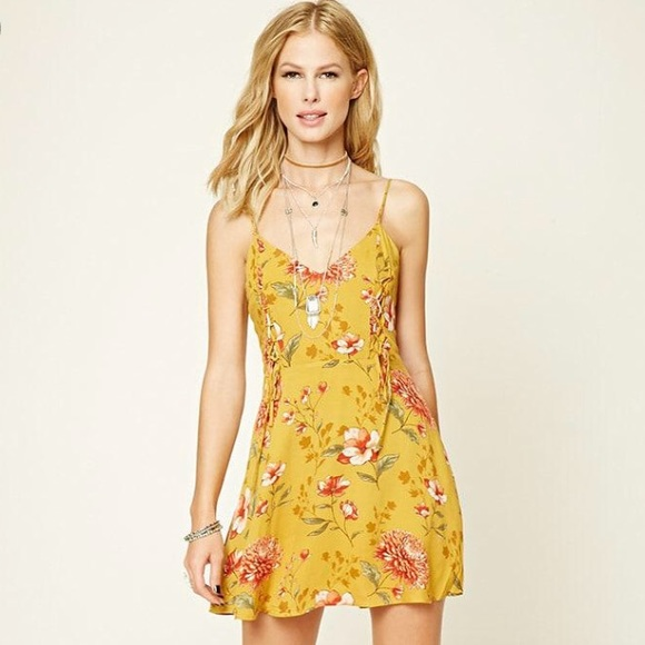 540e836cead3 Forever 21 Dresses | Nwt Mustard Floral Dress | Poshmark
